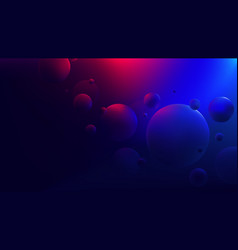 Bright red-blue glow reflecting on flying spheres vector