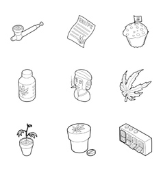 Cannabis icons set outline style vector image