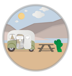 Cartoon outdoor camping in desert vector