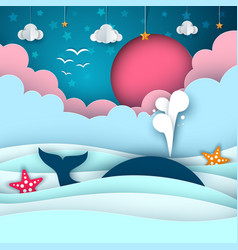 Cartoon paper sea whale cloud sun star vector