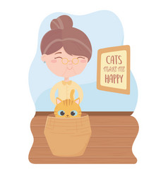 cats make me happy elderly woman with cat vector image