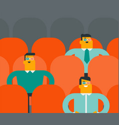Caucasian women watching 3d movie in the theatre vector