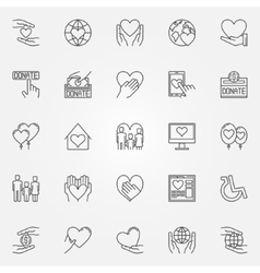 Charity thin line icons vector