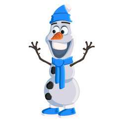 christmas snowman with a blue hat scarf and ugg vector image