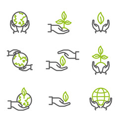 Collection of ecological symbols and signs vector