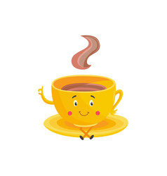 Cup of hot drink cartoon character sitting on vector