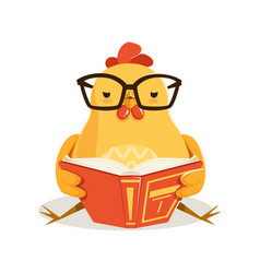 Cute cartoon chick bird sitting and reading a book vector