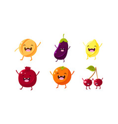 cute fruit and vegetables characters set apricot vector image