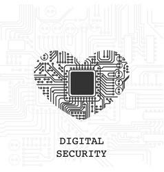 digital heart security wallpaper vector image
