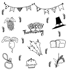 Doodle of food thanksgiving vector