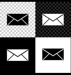 envelope icon isolated on black white and vector image