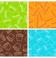 Fast food seamless patterns in retro style vector image