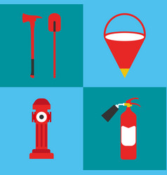 firefighter icon set fire departament equipment vector image