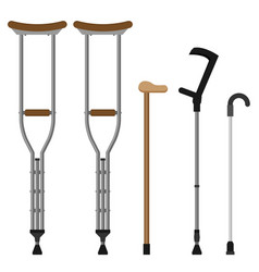 flat crutches set isolated on white background vector image