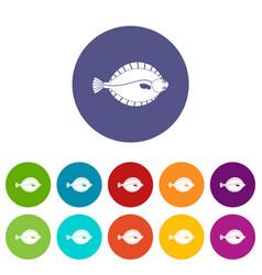 Flounder icons set flat vector