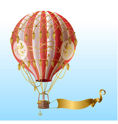 Flying hot air balloon with vintage decor vector