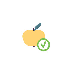 fresh yellow apple with green check tick mark flat vector image