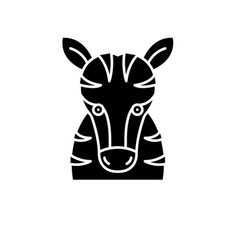 funny zebra black icon sign on isolated vector image