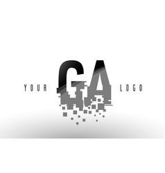 Ga g a pixel letter logo with digital shattered vector