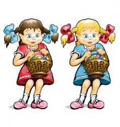 Girl with basket of eggs vector