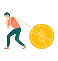 Golden coin man pulling dollar with thread vector