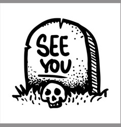 hand drawn sketch of the skull and gravestone vector image