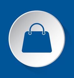 Handbag bag - simple blue icon on white button vector
