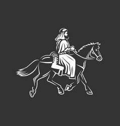 horse rider traveler a wanderer in ancient times vector image