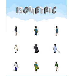 isometric person set of detective officer vector image