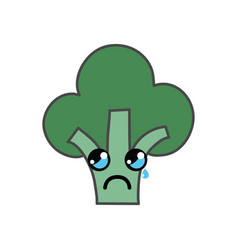 Kawaii cute crying broccoli vegetable vector