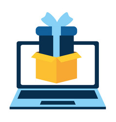 laptop with gift present vector image