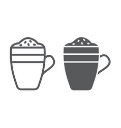 latte line and glyph icon coffee and cafe coffee vector image