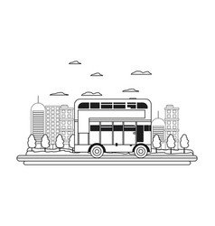 line building and urban london bus in the city vector image