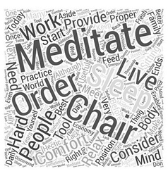 Meditation chair Word Cloud Concept vector