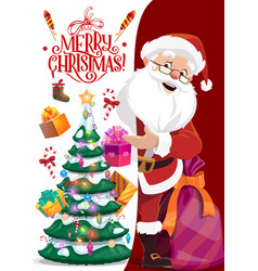 merry christmas postcard santa claus anf gifts vector image