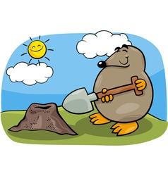 mole with shovel cartoon vector image