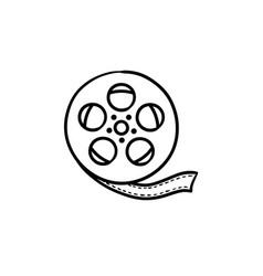 movie camera reel hand drawn outline doodle icon vector image