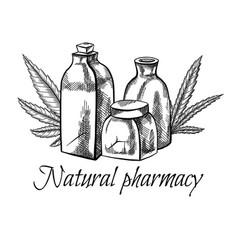 Natural pharmacy sketch vial vector