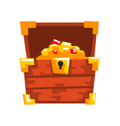 opened wooden chest with treasures full golden vector image