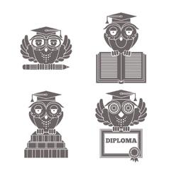 Owls in graduation caps set vector image