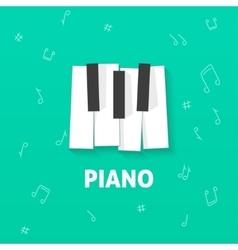 Piano keys flat logo isolated on green vector