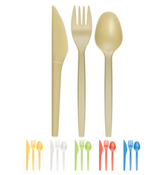 plastic cutlery realistic 3d icon vector image