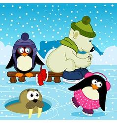 Polar bear walrus penguin on rink vector
