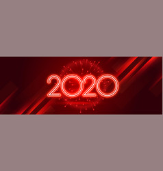 Red 2020 happy new year celebration shiny banner vector