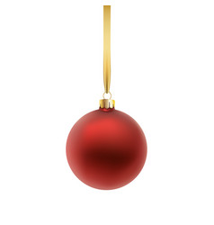 red christmas ball isolated on white background vector image