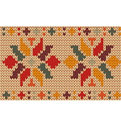 Retro knitted pattern background vector image
