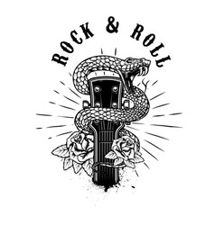 rock and roll guitar head with snake and roses vector image