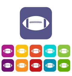 rugby ball icons set vector image