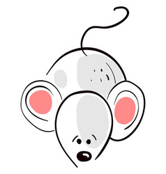Sad little mouse on white background vector