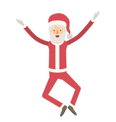Santa claus caricature full body jumping with hat vector